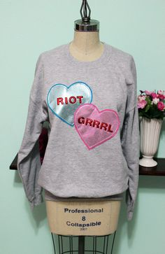Riot Grrrl Valentines Day Special Conversation Heart Oversized Sweatshirt Sale Clearance Sample