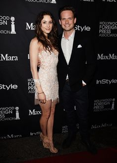Actors Troian Bellisario and Patrick Adams attend the InStyle & HFPA party during the 2015 Toronto International Film Festival.