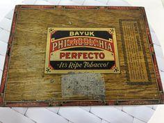 Cigar Tin Box Vtg 1940s Bayuk Philadelphia Perfecto Phillies Tobacco 5 Cents
