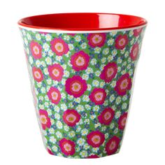 Medium Melamine Cup Two Tone with Peony Print Red Inner