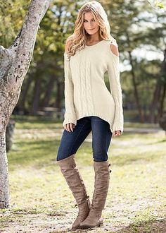 CABLE DETAIL SWEATER TUNIC, COLOR SKINNY JEAN, BUCKLE KNEE HIGH BOOT