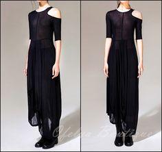 Open Shoulder Black Pleats Oversized Draped Skirt Short-Sleeved Maxi Dress || Ofelpan via Etsy