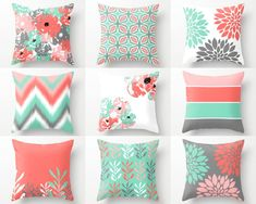 Pillow Covers, Throw Pillow Covers, Lucite Green Coral Grey Blush White, Spring Pillow Covers Mix and Match! Decorative Pillows - Decor Home