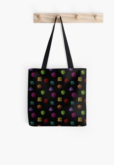 Colourful Polyhedron Dice on Tote Bag by Imogen Smid. - DnD, D&D, Dungeons and Dragons, Tabletop Gaming, RPG, roleplaying game, D20