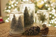 Anthropologie inspired:  DIY Snow Globes or Christmas Trees in Mason Jars Vintage Christmas Decor.