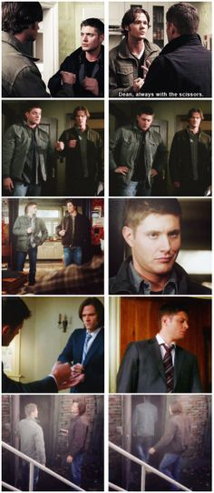[gifset] Rock Paper Scissors is serious business for Winchesters. 2x17 Heart, 4x19 Jump The Shark, 6x17 My Heart Will Go On, 7x12 Time After Time, Season 8 gag reel. #SPN #Dean #Sam