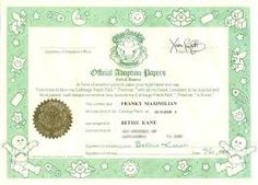 Image result for cabbage patch kid certificate certificate image result for cabbage patch kid certificate yadclub Choice Image