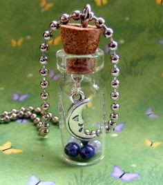 Moonbeam Glass Bottle Necklace ( pour some dye resin inside )