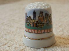 Minneapolis Souvenir Thimble City Scape Skyline Type Scene