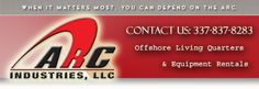ARC Industries was founded with a single goal, to meet and surpass the needs of their customers. This philosophy has enabled us to grow and evolve into one of the largest offshore and onshore equipment rental companies in the industry. Located at Highway 90 East, Broussard, Louisiana 70518. You can call 337-837-8283 or visit http://arcindustriesllc.com/ for more information.