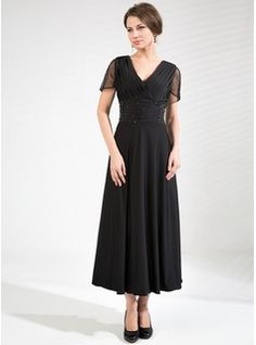 A-Line/Princess V-neck Tea-Length Tulle Jersey Mother of the Bride Dress With Ruffle Beading (008039105) - JJsHouse --many colors including dark green