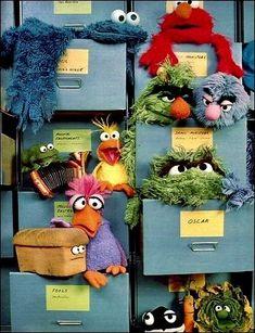 A filing cabinet in Jim Henson's Muppet Workshop, circa Sesame Street Muppets, Sesame Street Characters, Jim Henson, Elmo, Doug Funnie, The Muppet Show, The Muppets, Fraggle Rock, Miss Piggy