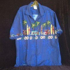 8a8fac8a Hawaiian Togs 2XL Blue Short Sleeve Shirt Surf Boards & Woodys made in  Hawaii