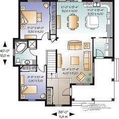 1st level Affordable 2 bedroom bungalow with kitchen island, great open floor plan and affordable construction costs - Calvert