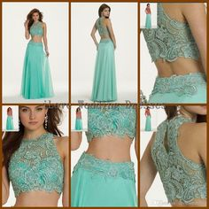 Wholesale Prom Dresses - Buy 2014 Two Piece Prom Dresses Crew Neck Lace Light Hunter Green Party Gowns Crystals Floor Length Homecoming Girls Dress Custom Made Y121617, $138.0 | DHgate