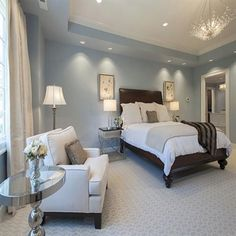 Light blue master bedroom with sitting area #bedroom #masterbedroom #sittingarea #homedecor #interiordesign #decorhomeideas #BedroomSets