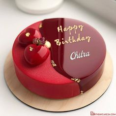 Red Velvet Birthday Cake With Name On It Red Birthday Cakes, Red Velvet Birthday Cake, Elegant Birthday Cakes, Red Cake, Happy Birthday Cake Writing, Birthday Cake Write Name, Happy Birthday Cake Photo, Birthday Cake Decorating, Cake Decorating Tips