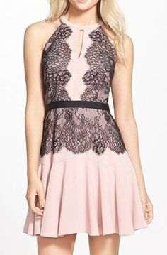 BCBGMAXAZRIA 'Leyla' Fit & Flare Halter Dress