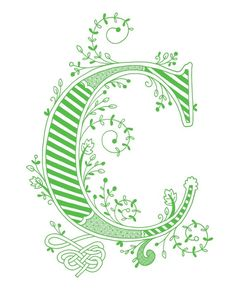 Hand drawn monogrammed print 8x10 the Letter C in by jenskelley, $15.00