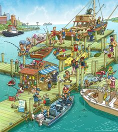 City Harbor Wimmelbild Created for Highlights Magazine Copyright © Highlights Press Highlights Hidden Pictures, Communication Orale, Highlights Magazine, Picture Writing Prompts, Spanish Classroom, Language Development, Whats Wrong, Picture Description, Speech And Language