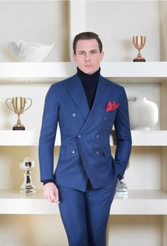 Double-Breasted Blue Prince of Wales Suit Prince Of Wales Suit, Prince Suit, Mens Fashion Suits, Mens Suits, Mens Pinstripe Suit, Men's Business Outfits, Classy Suits, Smart Outfit, Gentleman Style