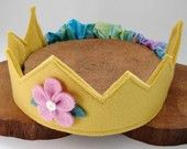 Wool Felt Crown golden yellow with pink by dreamchildstudio elastic back