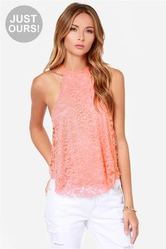 """LuLu*s Exclusive! The Goodness Graces Coral Lace Halter Top has been tested and approved as the cutest new crop top! This stretch knit top is covered in a stunning sheer floral lace from the high halter neckline, down the loose-fitting bodice, to the peekaboo hem. Wide arm openings and a back keyhole (with top button closure) give this top an airy and open feel. Fully lined. Model is 5'9"""" and wearing a size small. 90% Nylon, 10% Spandex. Hand Wash Cold. Made With Love in the U.S.A."""