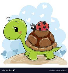 Buy Cartoon Turtle with Ladybug by on GraphicRiver. Cute Cartonn Turtle with ladybug on the meadow Cute Cartoon Animals, Cartoon Pics, Cute Animals, Cartoon Picture, Turtle Images, Cartoon Turtle, Ladybug Cartoon, Baby Painting, Cute Turtles