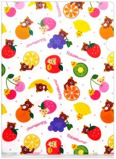 San-x Rilakkuma Fruit Plastic File Folder