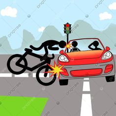 Bike And Car Accident Stickman Met With An Accident Mountain Bike Races, Car Silhouette, Bike Logo, Car Backgrounds, Man Illustration, Party Background, Car Posters, Vintage Race Car, Baby Cartoon