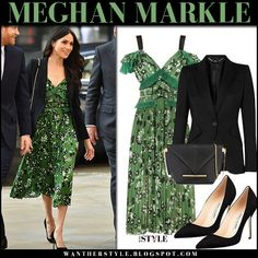 Meghan Markle wears green floral print midi dress and black jacket