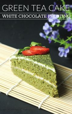 Fluffy, airy, and delicious green tea (matcha) cake with white chocolate frosting! A unique, creative take on the traditional sponge cake. Great Asian fusion recipe!
