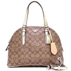 16% Off was $298.00, now is $249.95! Coach 24606 Khaki & Gold Peyton Signature Cora Domed Satchel