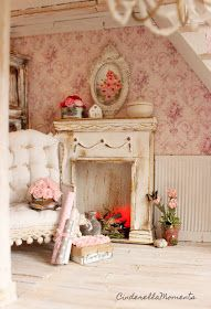 Cinderella Moments: Dollhouse 1/12 Fireplace Mantel Tutorial Cottage Style