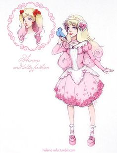 Another one loli-version of Disney Princess. My Princess Aurora in a cute pink dress, I tried to make her look like a sweet-lolita. Aurora and lolita fashion Disney Fan Art, Disney Nerd, Cute Disney, Disney Style, Disney E Dreamworks, Disney Movies, Disney Pixar, Disney Characters, Disney Bound