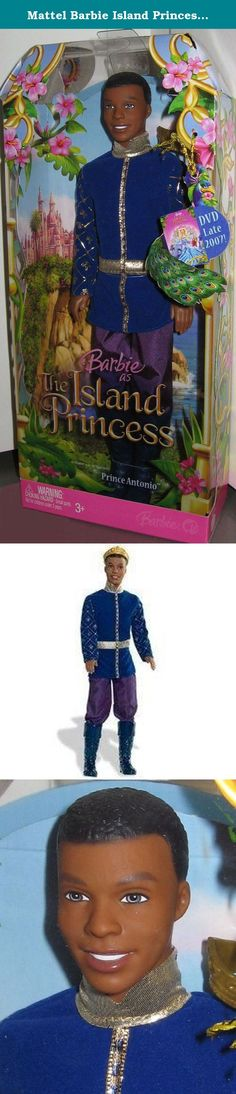"""Mattel Barbie Island Princess - Prince Antonio. In the DVD release, Barbie as The Island Princess, the adventurous prince is the love interest of Princess Rosella. The handsome prince doll comes dressed in a regal costume, complete with a crown, ready for the ball. Doll measures 11.5""""."""