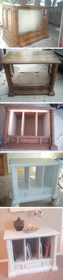 Turn an old floor model TV into shelf/storage unit