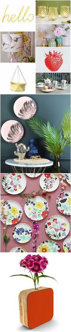 Colourful summer accessories for your home. Hello rack @Barnabyandco: http://fave.co/2b1K3oZ | Tea light holder http://fave.co/2b1NHiM | Lamp: http://fave.co/2aZLdV9 | Vases @miafleur http://fave.co/2b1N08V | Strawberry tea towel @giftsluxury: http://fave.co/2aZL6ZW | Planter @oliverbonas http://fave.co/2b1LGTu | Tea set http://fave.co/2aZL6ZW | Palm leaf plates @MiaFleur: http://fave.co/2b1LmUO | Melamine plates @sistersguild: http://fave.co/2aZJMWF | Vase @weamo: http://fave.co/2aZKHX6
