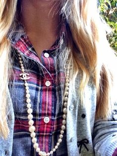 Plaid shirt, bow sweater cardigan, chanel necklace