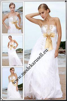Evening Gown Dress White  Weisses Abendmode Abendkleid  www.modekarusell.eu