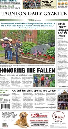 The front page of the Taunton Daily Gazette for Tuesday, May 31, 2016.
