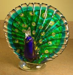 """Hand Blown Glass Peacock Paperweight on Base 8"""" x 8"""" Great Detailed Art Glass"""