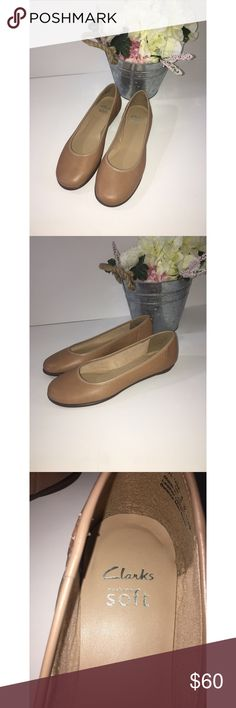 Clark's Cushion Soft Leather Flats Clark's Cushion Soft Leather Flats   Size:9  Color: Tan   NWOT or Box   Very comfortable versatile every day flat with added cushion comfort.  Original box not included and unavailable.  Make me an offer 😕 Clarks Shoes Flats & Loafers