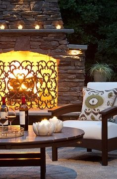 Fireplace grill.