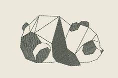 moderne geometrische panda bear digitale ontwerp van de machine borduurwerk lichtgewicht borduren voor kinderen en volwassen slijtage gevuld design gemakkelijk uitgevoerd borduurwerk ontwerpen Het formaat van 4 inches (10 cm) vulling steek PES HUS VIP3 JEF INSTANT DOWNLOAD