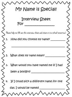 Name Interview Sheet to use with Chrysanthemum