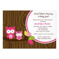 Mod Owl Girl Baby Shower Invitations
