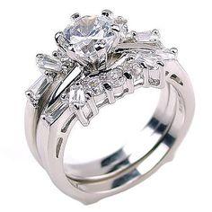 Emma: 2.0ct Simulated Diamond CZ Wedding Set with Ring Guard