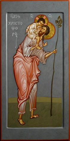 As if Through a Child's Inner Eye: The Contemporary Icons of Maxim Sheshukov – Orthodox Arts Journal Byzantine Icons, Byzantine Art, Religious Icons, Religious Art, Archangel Raphael, Raphael Angel, Saint Christopher, Religion, Soul Art