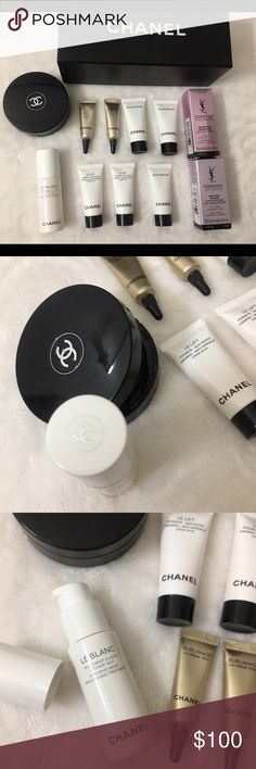 💯✨Chanel  luxury huge lot! X10 Chanel Le blanc +! Authentic brand new Chanel lux Le balance night intense skin brightening treatment full size no box brand new . And deluxe Chanel sublimate samples eye , Le life , blue serum / ysl oil , skin !! All  ew with Chanel shopping bag ! MSRP : 200.00 CHANEL Makeup